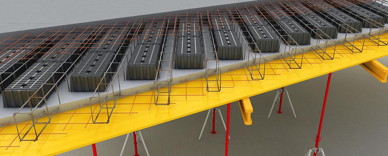 Airplast ist das sichereste und entwickelteste System für die Entlastung von Fertigbauplatten und für die Realisierung von Decken, die vor Ort gegossen werden