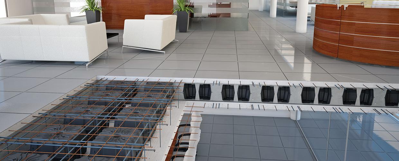 Kunststoffschalungssysteme zur Herstellung von leichten bidirektionalen oder Monodirektionalen Decken, die vor Ort  gegossen werden.