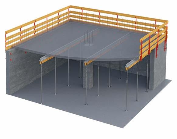 Geosky ist ein wiederverwendbares Schalungssystem aus ABS Kunststoff für den Bau von Flacbetonhdecken. Dieses innovative Schalungssystem, mit einem Hauptträger und  verschiebbaren Keilen, beschleunigt die Installation und Ausschalung sowie die Rotation de