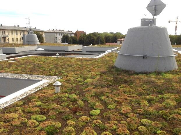 Mit DRAINROOF gebaute Dächer mit Sedum bieten ökologischen Wert dem Gebäude und helfen, das ökologische,  landschaftliche und zierliche Gleichgewicht zu rekonstruieren.