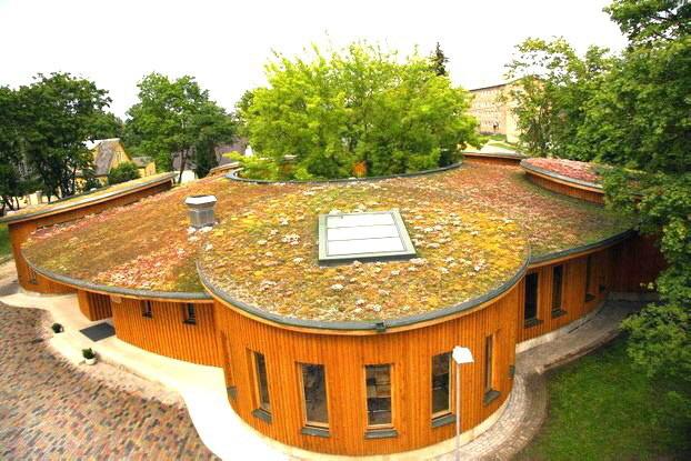 DRAINROOF ist die Lösung für die Realisation von extensiven Dachgärten mit Sedum, das eine einfache grüne  Oberfläche mit niedriger Wartung gewährleistet. Ideal für schwer zugängliche Schrächdächer.