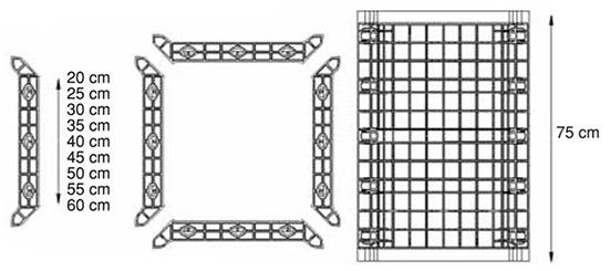 GEOTUB PANEL ist die Schalung aus ABS Kunststoff für quadratische und rechteckige Beton-Pfeiler